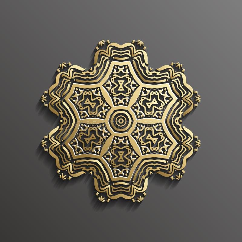 Islamisk guld 3d på design för textur för muslim för mörk bakgrund för mandalarundaprydnad arkitektonisk kan användas för royaltyfri illustrationer
