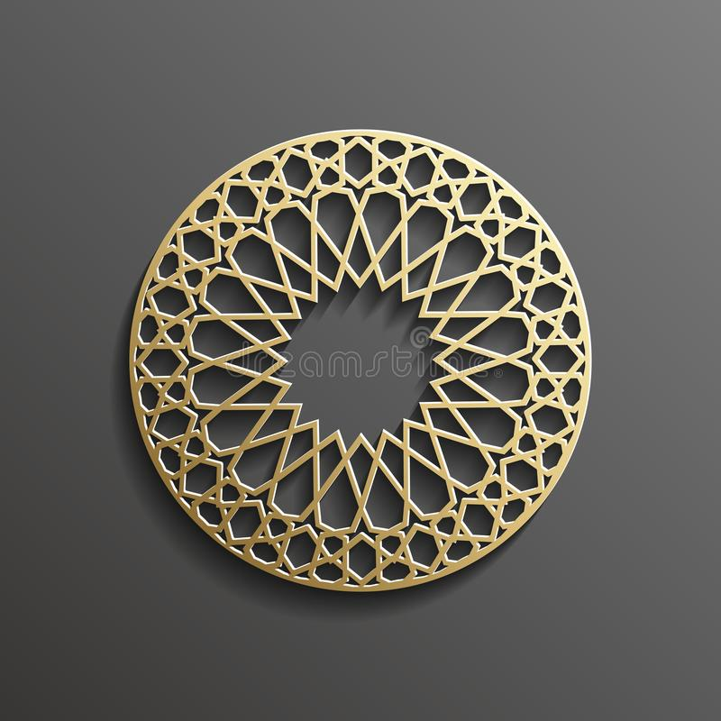 Islamisk guld 3d på design för textur för muslim för mörk bakgrund för mandalarundaprydnad arkitektonisk kan användas för stock illustrationer