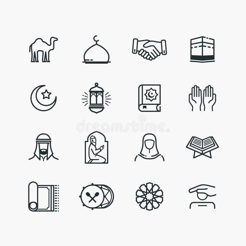 Islamisk linje Art Icons Set royaltyfri illustrationer