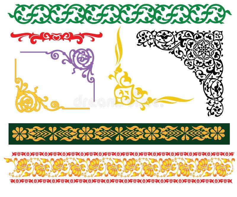 islamisk malayprydnad för kanter royaltyfri illustrationer