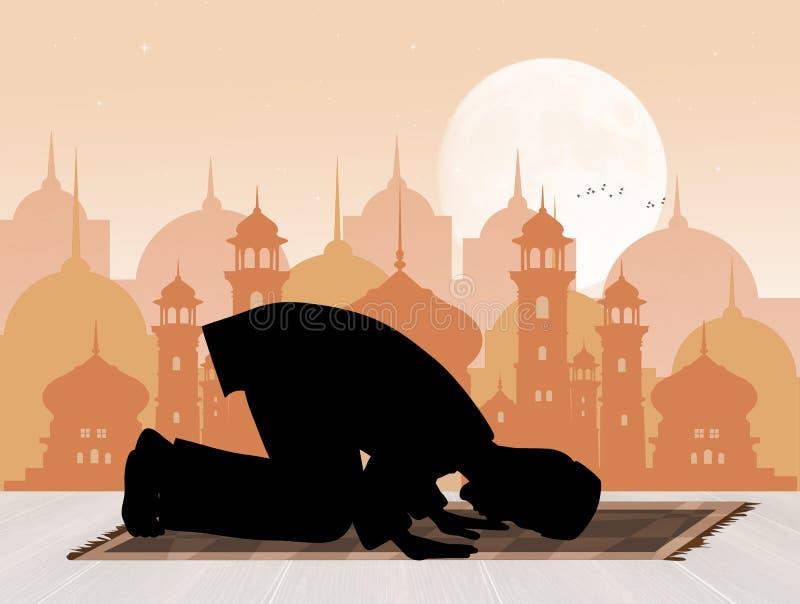 Islamisk man som ber vända mot Mecka vektor illustrationer