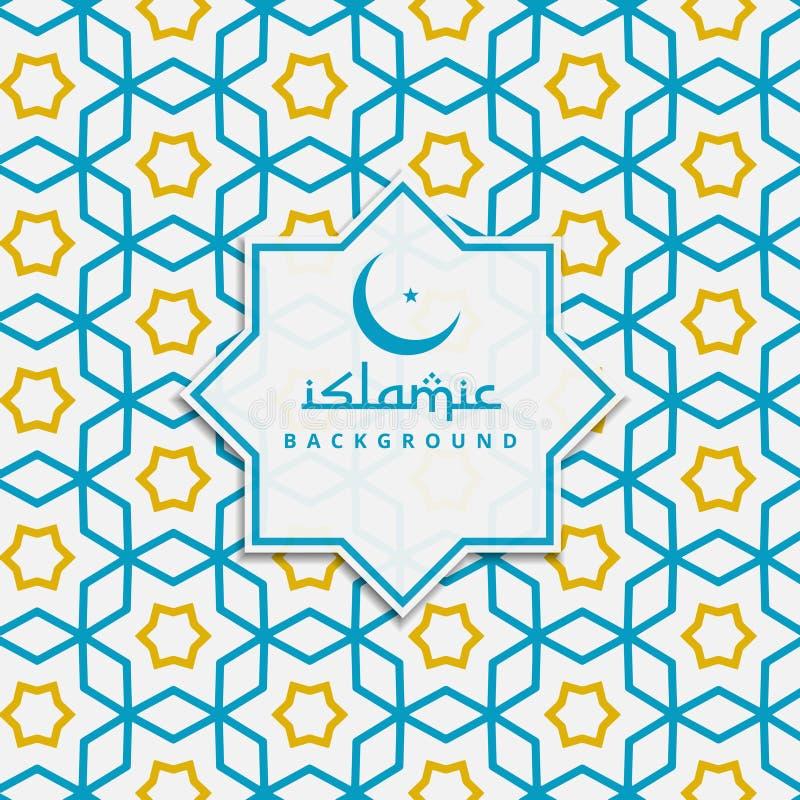 Islamisk modellbakgrund i blått och guling färgar stock illustrationer