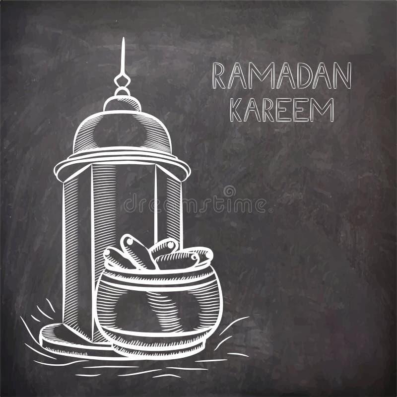 Islamisk moské med data för Ramadan Kareem beröm