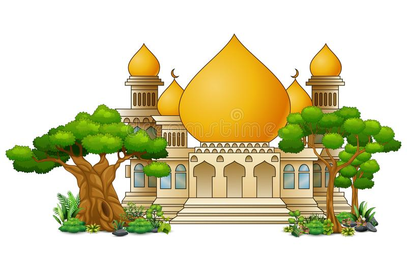 Islamisk moskébyggnad med den gröna växten stock illustrationer