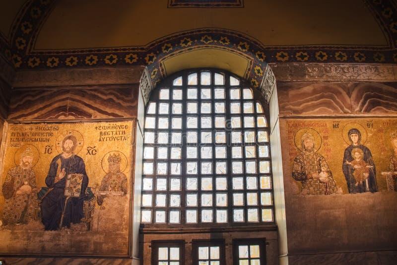 Islamisk och kristen religiongränsmärke för Hagia Sophia inre -, Istanbul royaltyfri bild