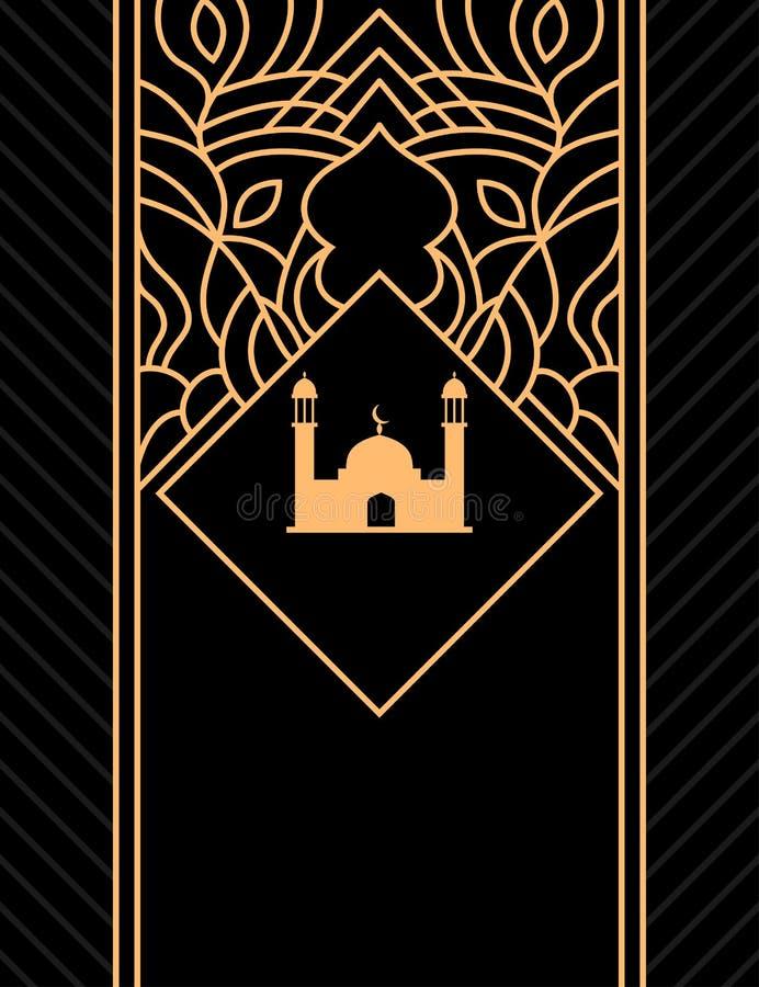 Islamisk reklambladdesign i svart och guld royaltyfri illustrationer