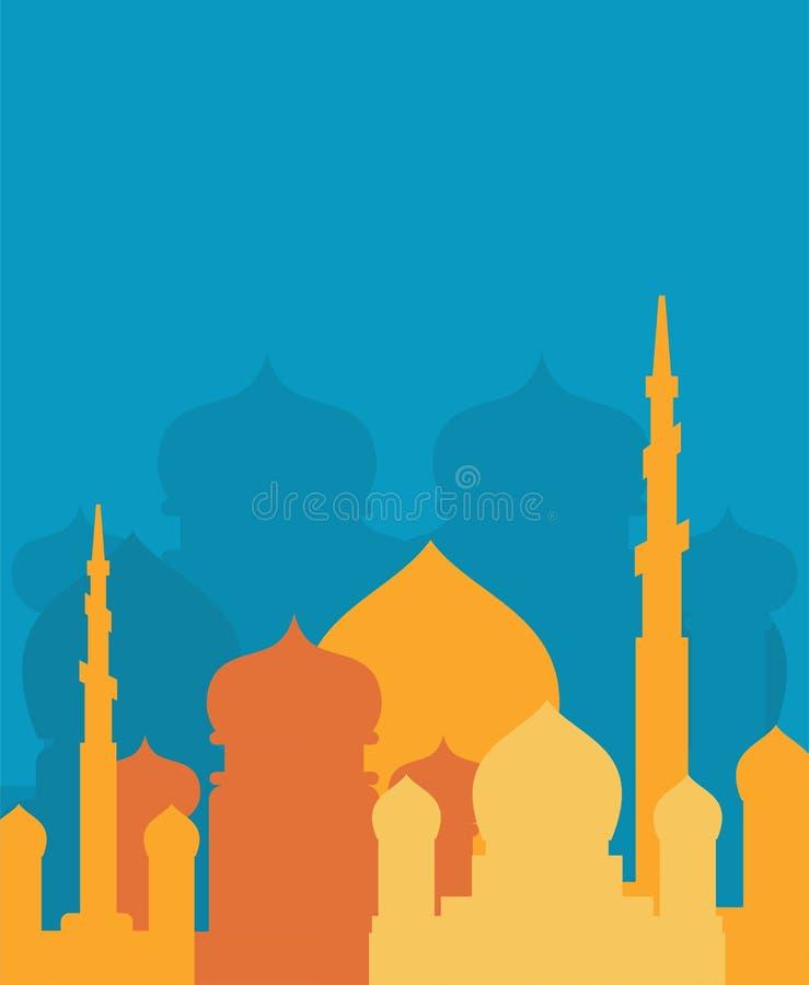 Islamisk religiös byggnad för moské Vektorillustration för Musli vektor illustrationer