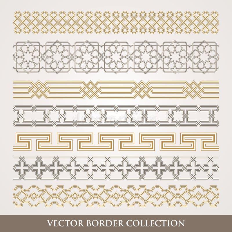 Islamisk sömlös geometrisk gränsuppsättning stock illustrationer