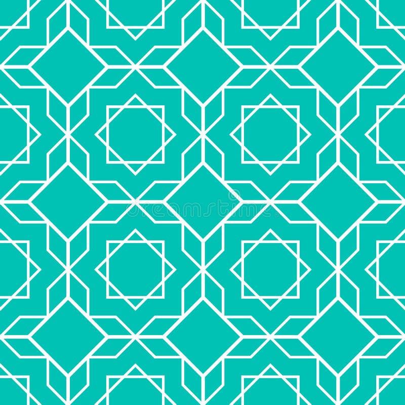 Islamisk sömlös modell Asiatisk geometrisk bakgrund Dekorativa konster i östlig stil Dekorativ design för arabisk mall Tegelplatt stock illustrationer