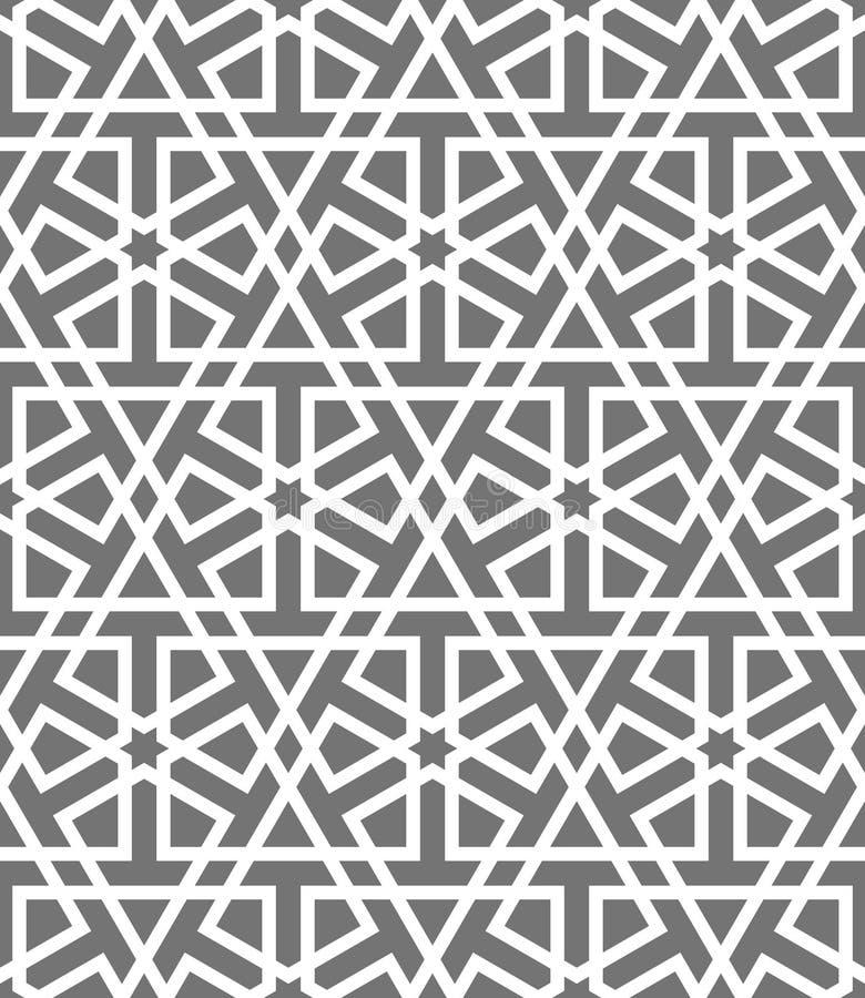 Islamisk sömlös vektormodell Vita geometriska prydnader som baseras på traditionell arabisk konst Orientalisk muslimmosaik royaltyfri illustrationer
