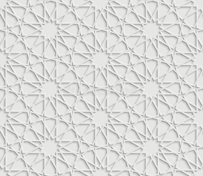 Islamisk stjärnamodell på vit bakgrund royaltyfri illustrationer