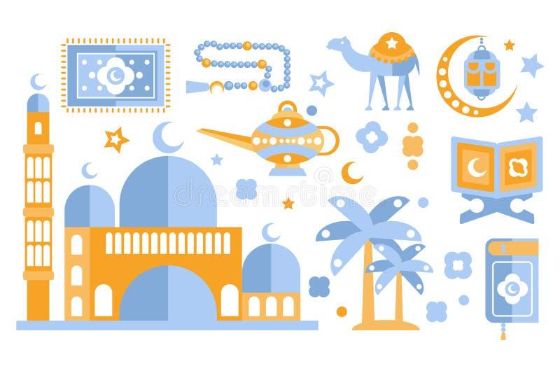 Islamisk uppsättning för kulturfärgsymboler Muslimska attribut Religionsymbolism Isolerad vektorillustrationuppsättning vektor illustrationer