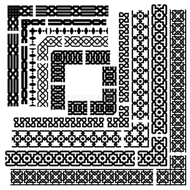 Islamisk vektorlinje gränsuppsättning royaltyfri illustrationer