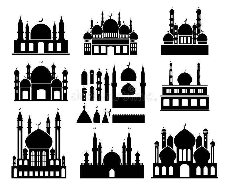 Islamiska byggnadskonturer royaltyfri illustrationer