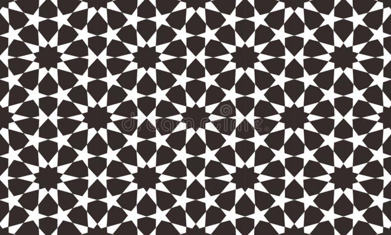 Islamiska fyrkantiga geometriska upprepande modeller är mycket böjliga De har använts ofta i vägggarneringar, fönster, paneler, s royaltyfri illustrationer