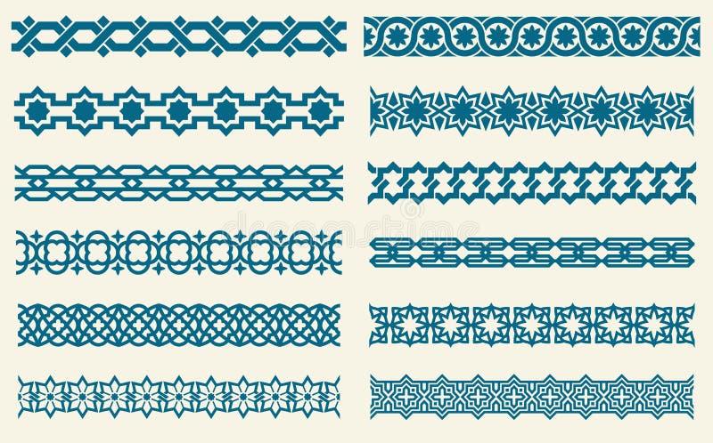 Islamiska prydnader anknyter dekorativa gränser för den sömlösa vektorn vektor illustrationer