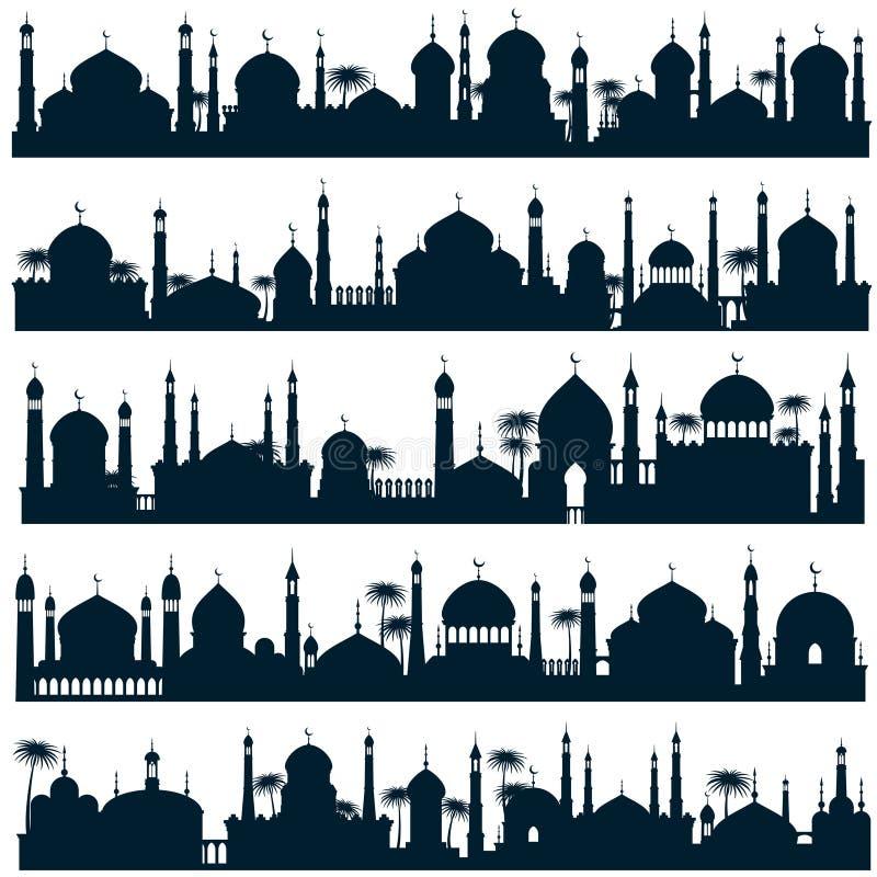 Islamiska stadshorisonter med arkitektur för arabiska för moské- och minaretvektorkonturer stock illustrationer