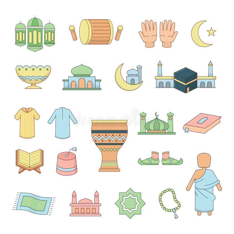 Islamiska symboler uppsättning, vektorillustration stock illustrationer