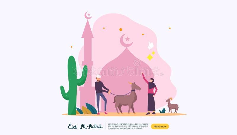 islamiskt designillustrationbegrepp för lycklig eidaladha eller offerberömhändelse med folkteckenet för rengöringsduklandning stock illustrationer