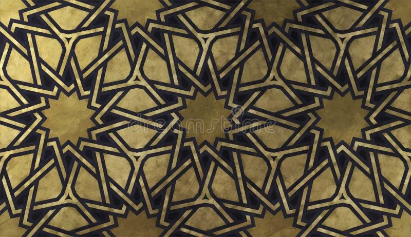 Islamitisch decoratief patroon met gouden artistieke textuur royalty-vrije stock afbeelding