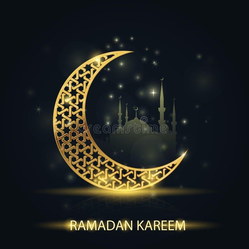 Islamitisch halve maan en silhouet van moskee - Ramadan Kareem stock illustratie