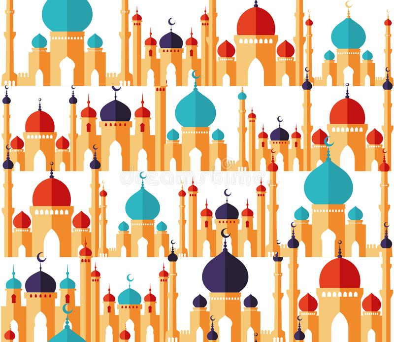 Islamitisch mooi ontwerpmalplaatje Arabische ornamenten Naadloos patroon van moskees in vlakke stijl Ramadan Kareem-groet stock illustratie