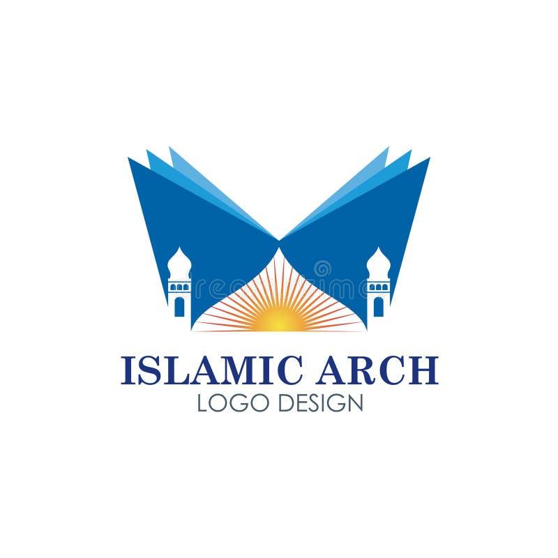 Islamitisch moskee logotype vectorontwerp royalty-vrije illustratie