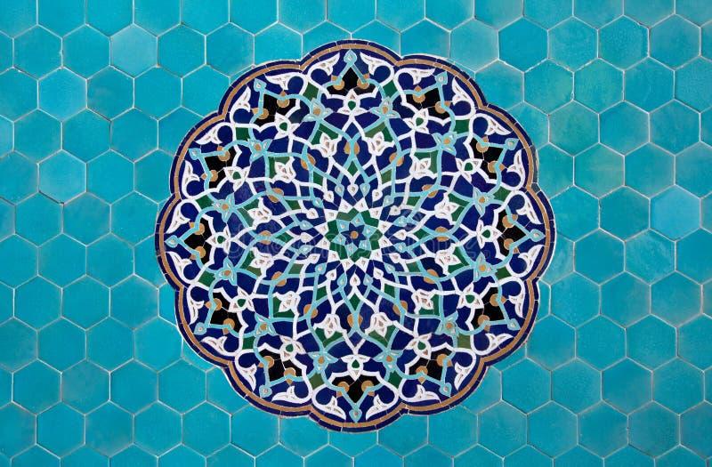 Islamitisch mozaïekpatroon met blauwe tegels royalty-vrije stock fotografie