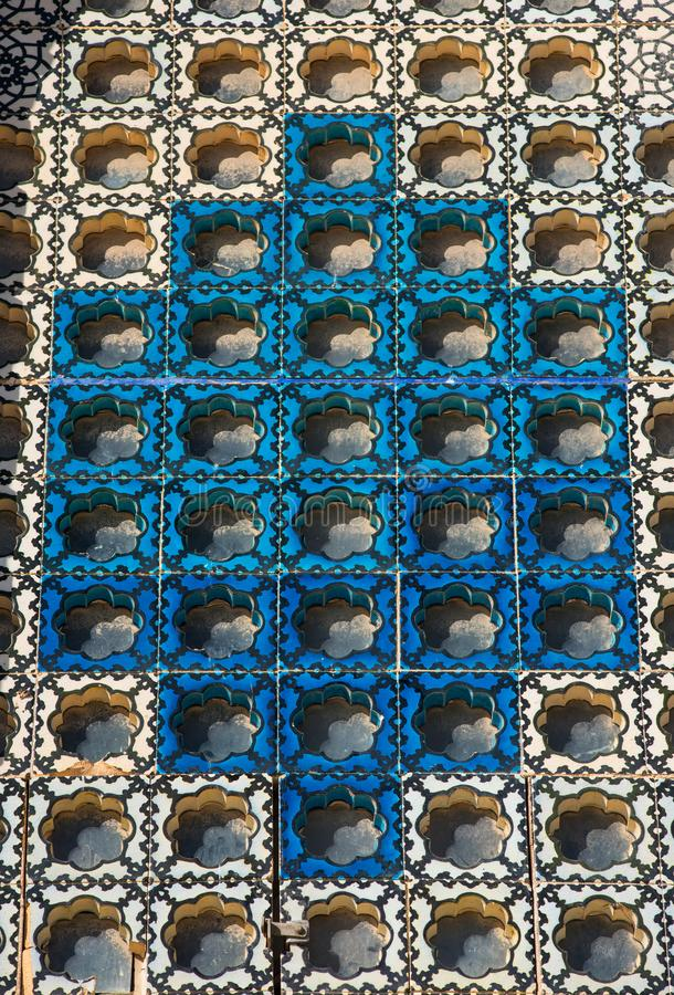 Islamitisch patroon, Arabische blauwe tegels royalty-vrije stock foto
