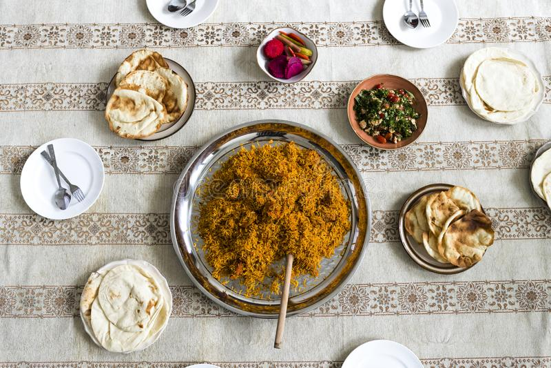 Islamitisch voedsel bij Ramadanfeest royalty-vrije stock afbeeldingen