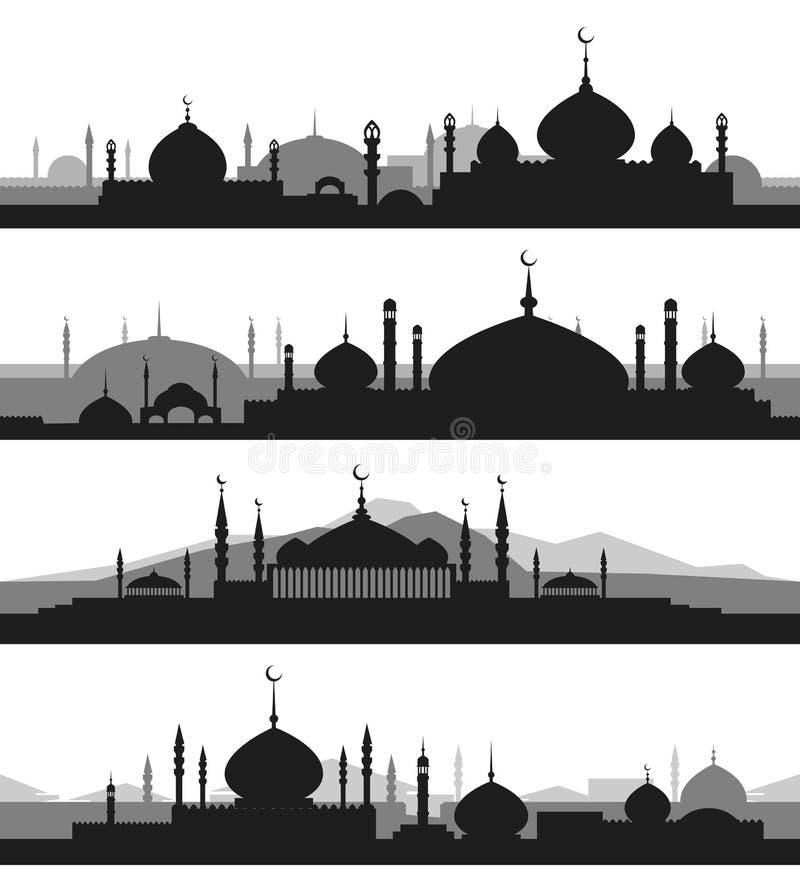Islamitische cityscape met moskeesilhouetten vector illustratie