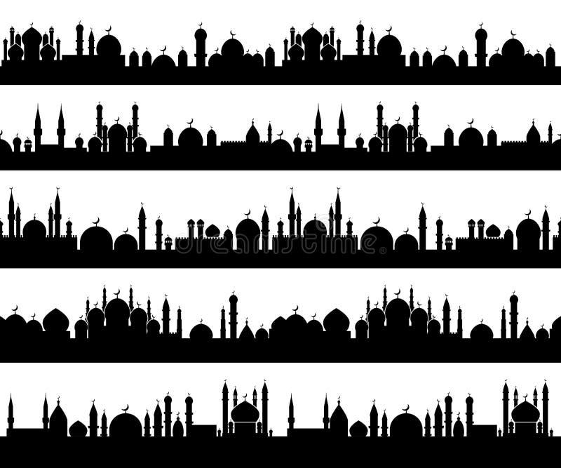 Islamitische cityscape silhouetten vector illustratie