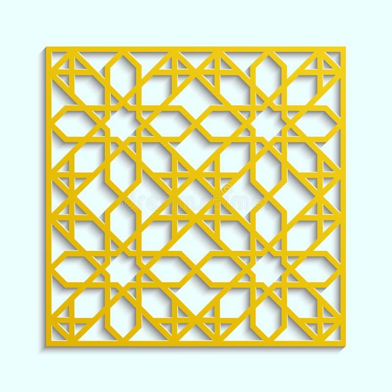Islamitische 3d arabesque gouden Arabische mandala Vector rond ornament in eastarnstijl Moslimtextuurontwerp Traditionele decorat stock illustratie