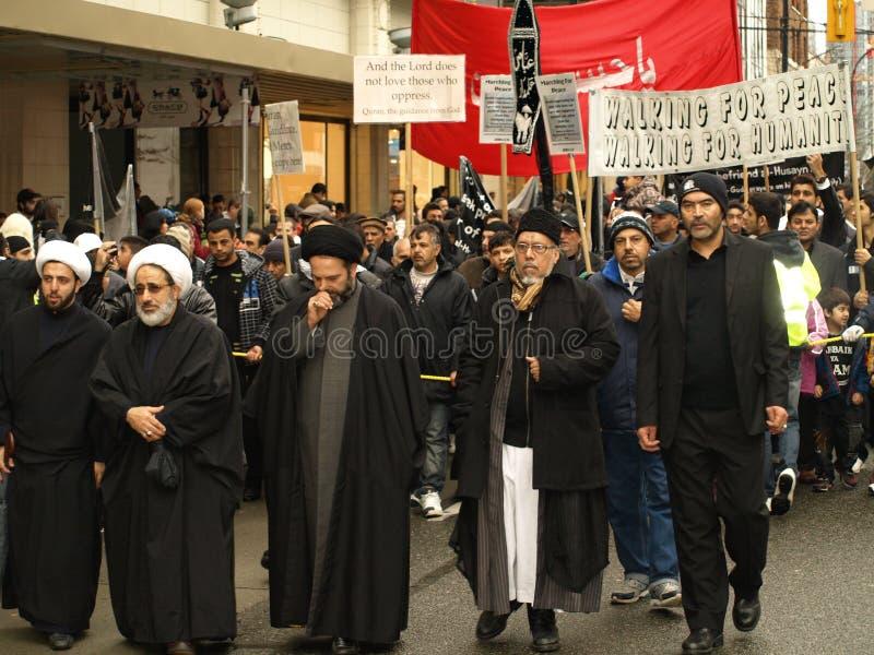 Islamitische demonstratie in Vancouver van de binnenstad stock fotografie