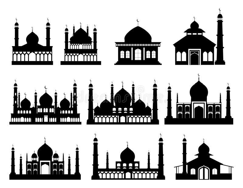 Islamitische gebouwensilhouetten Moskees en minaretten met halve manen vector illustratie