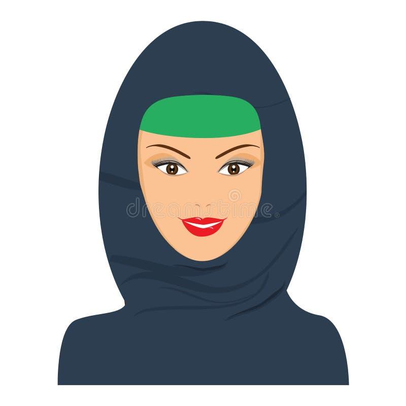 Islamitische gelukkige vrouw met hoofddeksel, hijab Vlakke kleurenvector royalty-vrije illustratie
