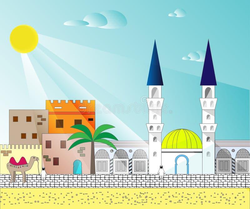 Islamitische kleurrijke cityscape met huizen, moskee en minaret royalty-vrije illustratie