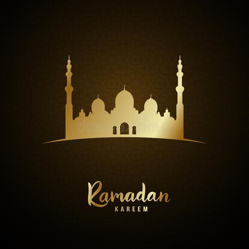 Islamitische moskee en Arabische patroon gouden gloed voor Ramadan Kareem stock illustratie