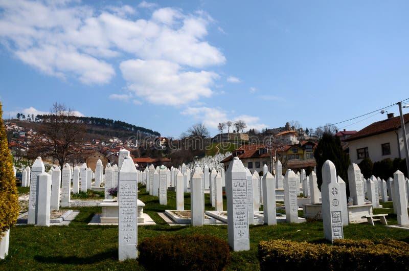 Islamitische Moslimgrafstenen van Bosnische militairen bij Martelaren Herdenkingsbegraafplaats Sarajevo Bosnië stock foto