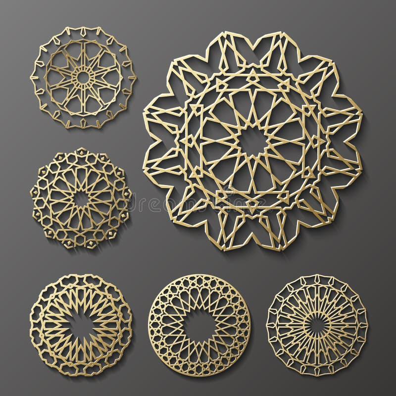 Islamitische ornament vector, Perzische motiff 3d ramadan ronde patroonelementen De geometrische reeks van het embleemmalplaatje  stock illustratie