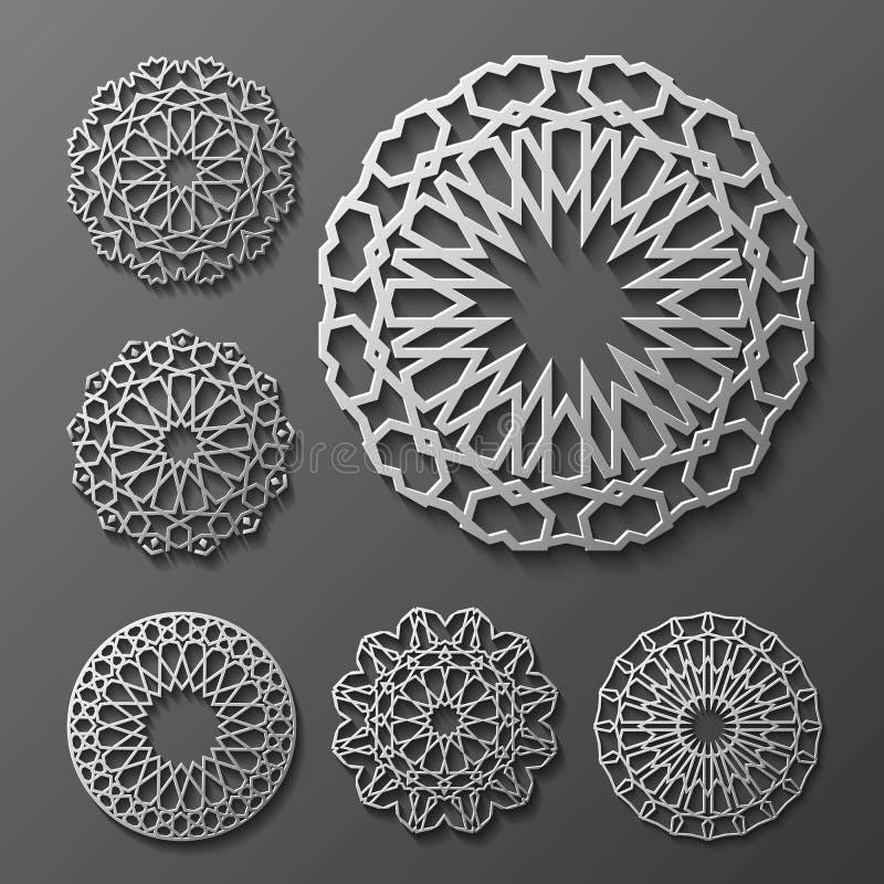 Islamitische ornament vector, Perzische motiff 3d ramadan ronde patroonelementen De geometrische reeks van het embleemmalplaatje  vector illustratie