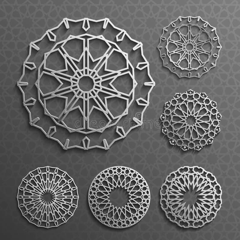 Islamitische ornament vector, Perzische motiff 3d ramadan ronde patroonelementen De geometrische reeks van het embleemmalplaatje