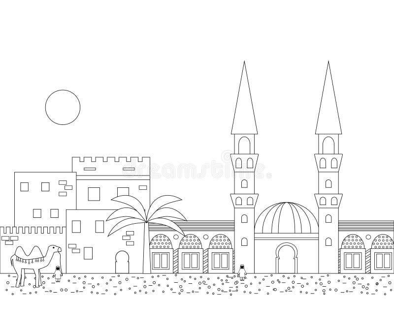 Islamitische overzichtscityscape met huizen, moskee en minaret royalty-vrije illustratie