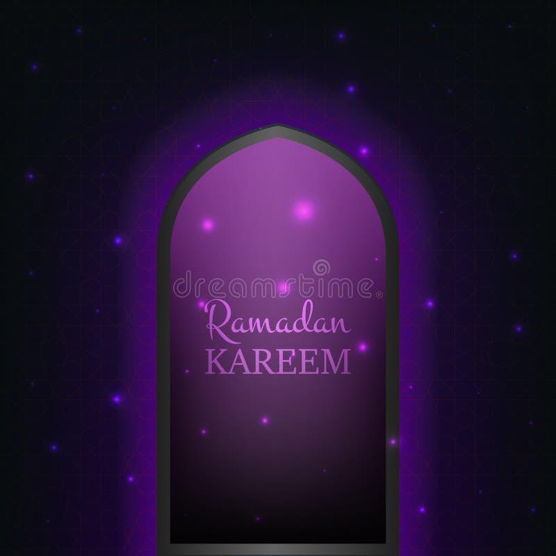 Islamitische Ramadan Kareem-achtergrond Gloeiende deur met vliegend glanzend deeltjes en patroon