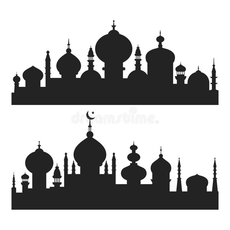 Islamitische Stadssilhouetten royalty-vrije illustratie
