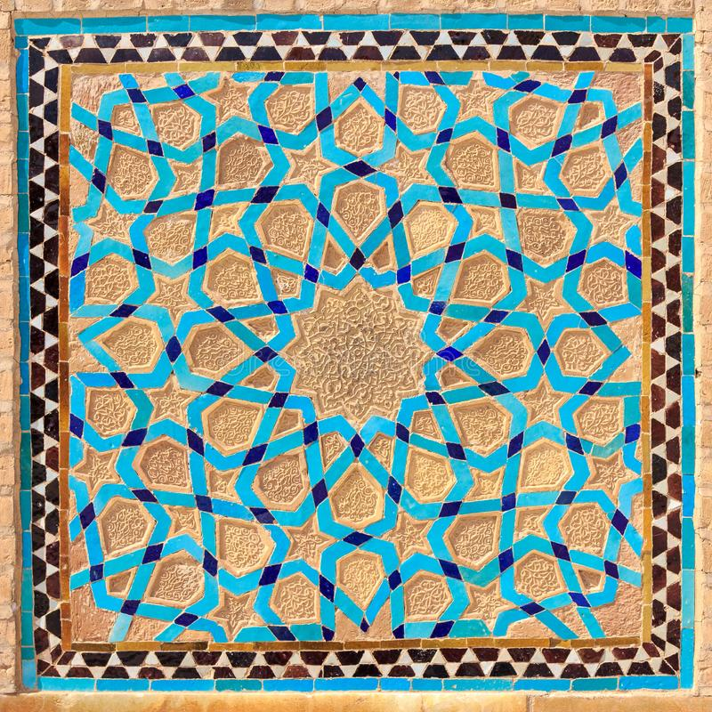 Islamitische stijl geometrische decoratie arabesque in Iran stock afbeelding