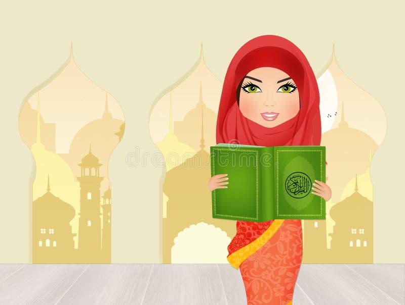 Islamitische vrouw met de Koran stock illustratie