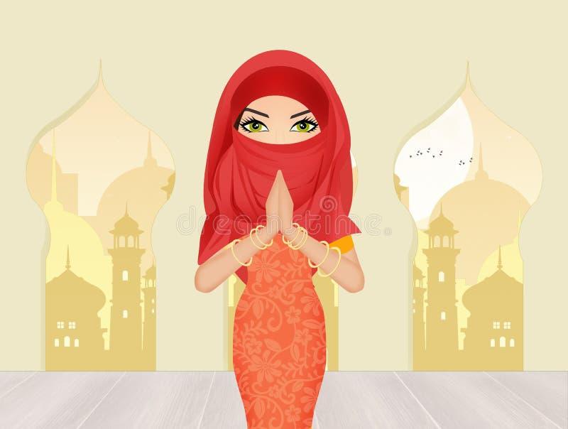 Islamitische vrouw met sluier royalty-vrije illustratie
