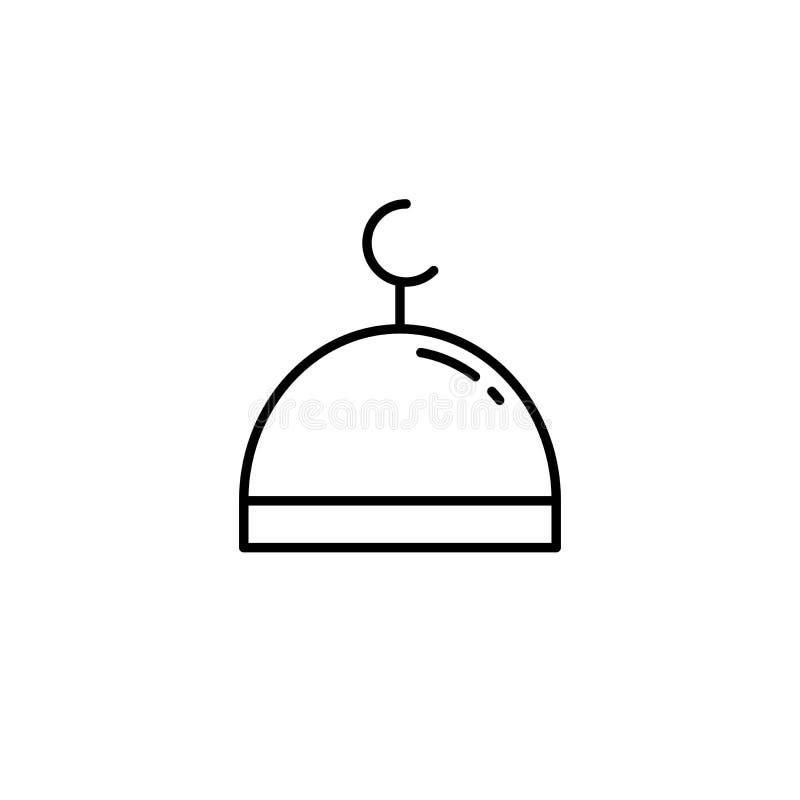 Islammoskékupol Enkel monolinesymbolsstil för muslim ramadan och beröm för eidalfitr vektor illustrationer