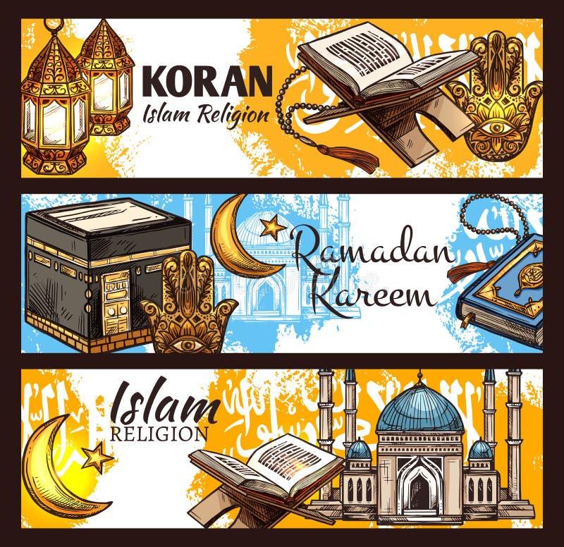 IslamRamadanlykta, muslim moské och Koranen stock illustrationer